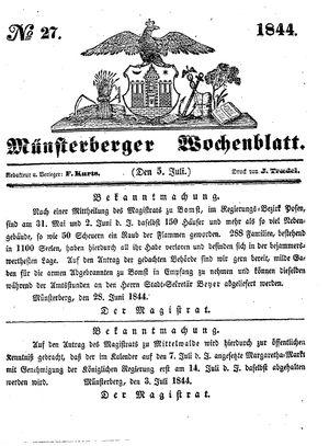 Münsterberger Wochenblatt vom 05.07.1844