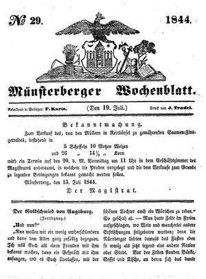 Münsterberger Wochenblatt vom 19.07.1844