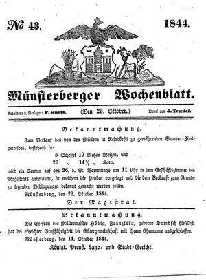 Münsterberger Wochenblatt vom 25.10.1844