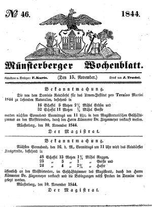 Münsterberger Wochenblatt vom 15.11.1844