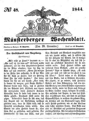 Münsterberger Wochenblatt vom 29.11.1844