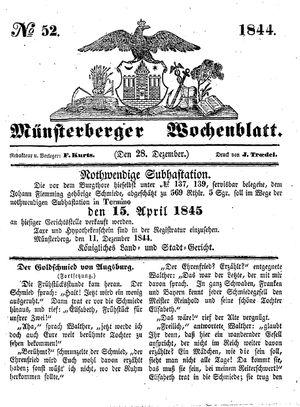 Münsterberger Wochenblatt vom 28.12.1844