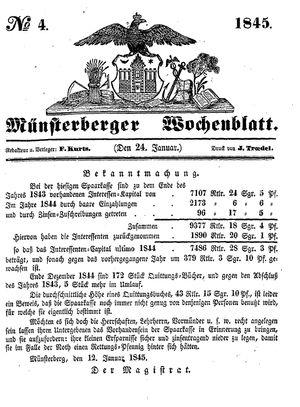 Münsterberger Wochenblatt vom 24.01.1845