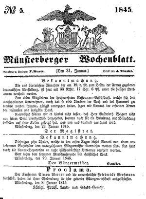 Münsterberger Wochenblatt vom 31.01.1845