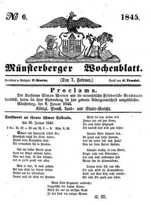 Münsterberger Wochenblatt vom 07.02.1845