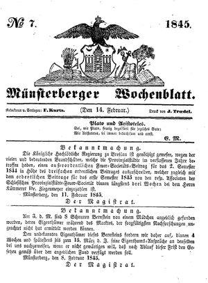 Münsterberger Wochenblatt vom 14.02.1845
