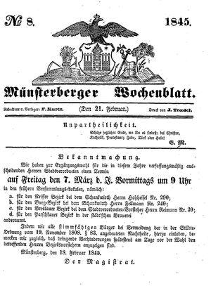 Münsterberger Wochenblatt vom 21.02.1845