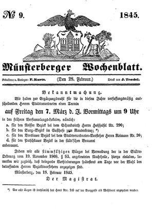Münsterberger Wochenblatt vom 28.02.1845