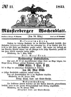 Münsterberger Wochenblatt vom 14.03.1845
