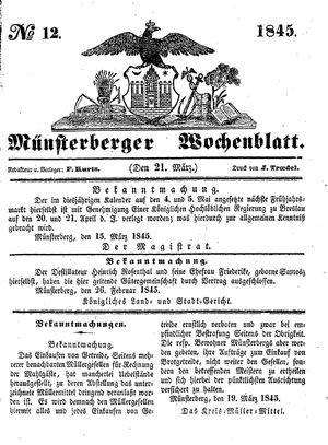 Münsterberger Wochenblatt vom 21.03.1845