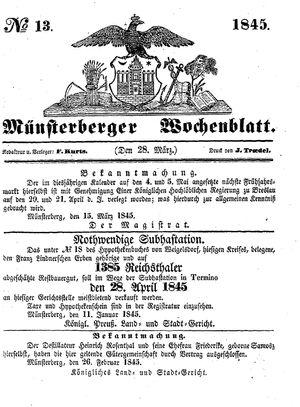 Münsterberger Wochenblatt vom 28.03.1845