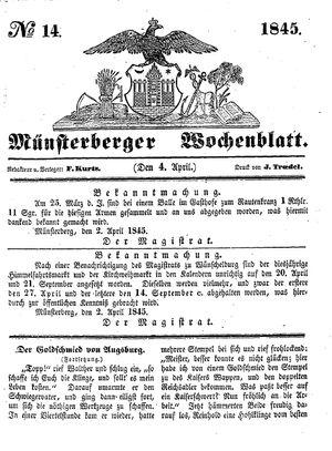 Münsterberger Wochenblatt vom 04.04.1845
