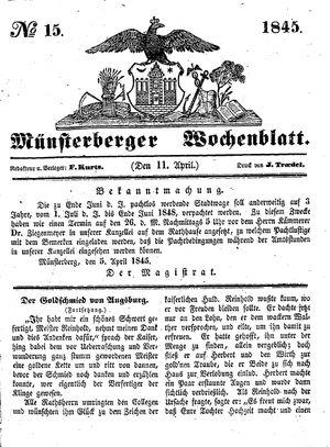 Münsterberger Wochenblatt vom 11.04.1845