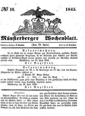 Münsterberger Wochenblatt on Apr 18, 1845