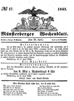 Münsterberger Wochenblatt vom 25.04.1845
