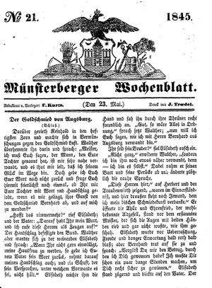 Münsterberger Wochenblatt vom 23.05.1845