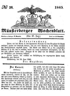 Münsterberger Wochenblatt vom 27.06.1845