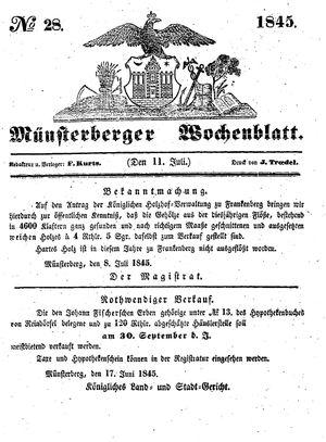 Münsterberger Wochenblatt on Jul 11, 1845