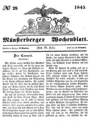 Münsterberger Wochenblatt vom 18.07.1845