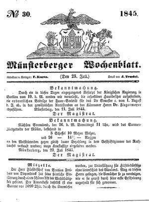 Münsterberger Wochenblatt vom 25.07.1845