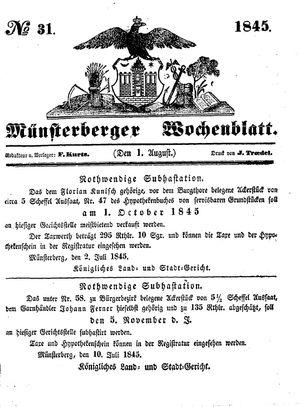 Münsterberger Wochenblatt vom 01.08.1845