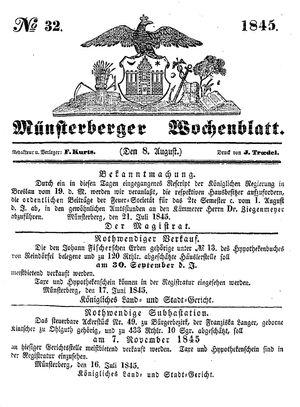 Münsterberger Wochenblatt vom 08.08.1845