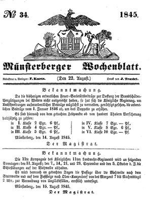 Münsterberger Wochenblatt on Aug 22, 1845