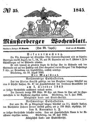 Münsterberger Wochenblatt vom 29.08.1845