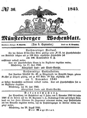Münsterberger Wochenblatt on Sep 5, 1845