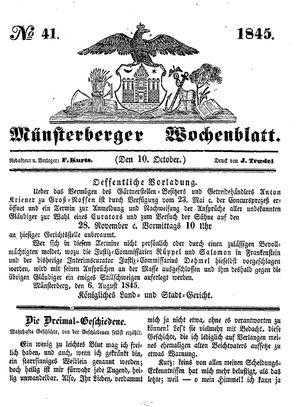 Münsterberger Wochenblatt vom 10.10.1845