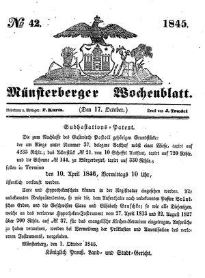 Münsterberger Wochenblatt vom 17.10.1845