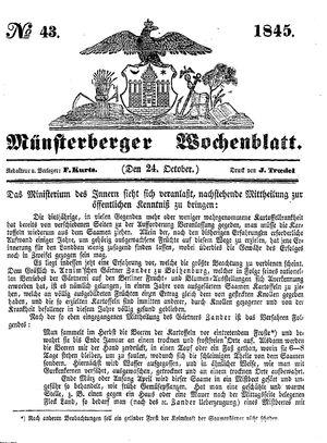 Münsterberger Wochenblatt on Oct 24, 1845