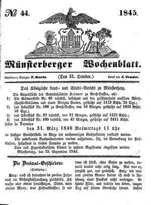 Münsterberger Wochenblatt on Oct 31, 1845