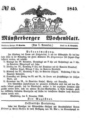 Münsterberger Wochenblatt vom 07.11.1845