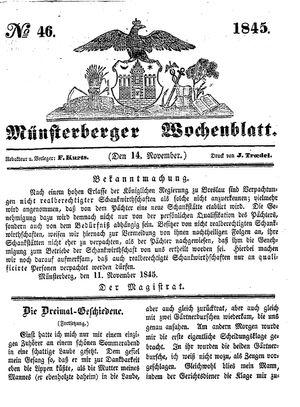Münsterberger Wochenblatt vom 14.11.1845
