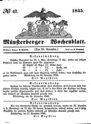 Münsterberger Wochenblatt vom 21.11.1845