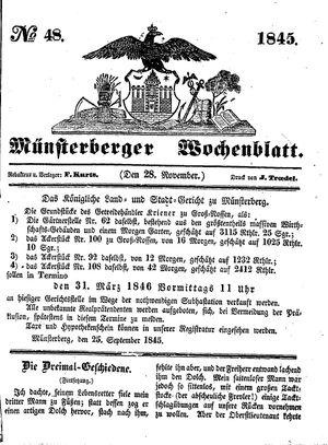 Münsterberger Wochenblatt on Nov 28, 1845