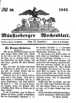 Münsterberger Wochenblatt on Dec 12, 1845
