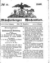 Münsterberger Wochenblatt (18.12.1846)