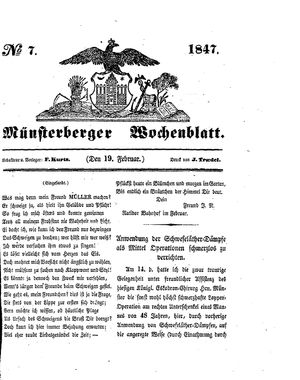Münsterberger Wochenblatt vom 19.02.1847