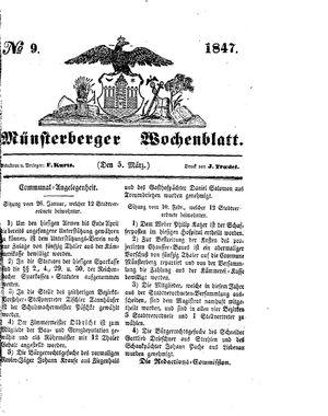 Münsterberger Wochenblatt vom 05.03.1847