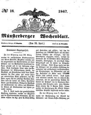 Münsterberger Wochenblatt vom 23.04.1847