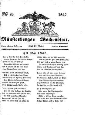 Münsterberger Wochenblatt on May 21, 1847