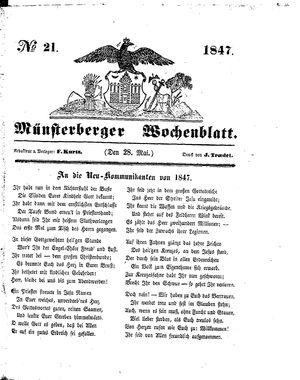 Münsterberger Wochenblatt vom 28.05.1847
