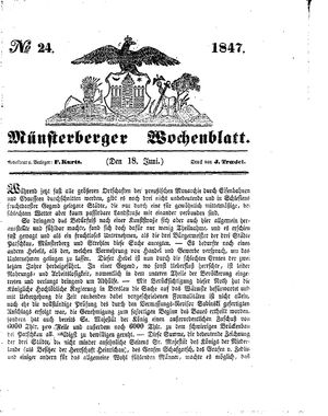 Münsterberger Wochenblatt vom 18.06.1847