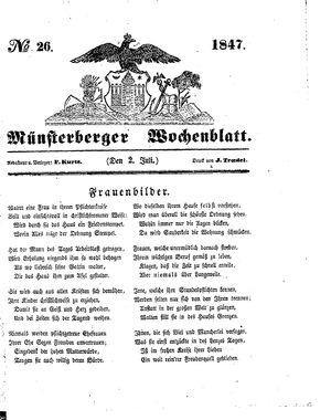 Münsterberger Wochenblatt vom 02.07.1847