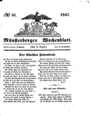 Münsterberger Wochenblatt vom 06.08.1847