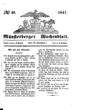Münsterberger Wochenblatt on Sep 10, 1847