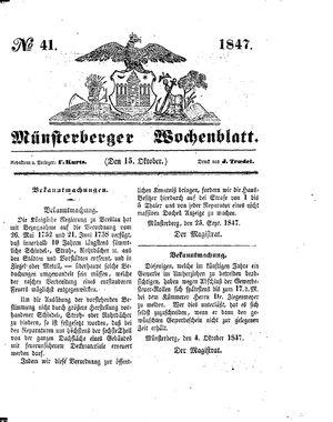 Münsterberger Wochenblatt vom 15.10.1847