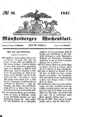 Münsterberger Wochenblatt vom 22.10.1847